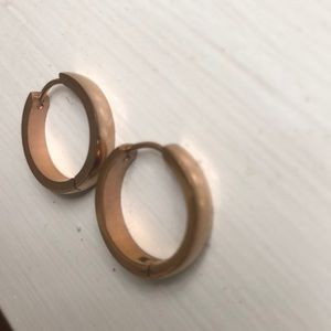 Rose gold colored stainless steel hoop earrings